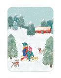 Winter Sleetje rijden - Ansichtkaart_