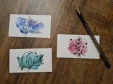 Watercolor Plantjes - Set van 3 Minikaartjes