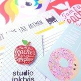 I am a teacher Pin Rood_
