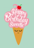 Happy birthday sweetie - Ansichtkaart_