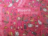 Hoera meisje roze - Ansichtkaart_