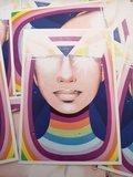 Regenboog Vrouw Straatkunst - Ansichtkaart_