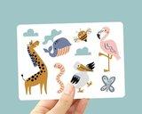 Giraffe, Flamingo en Walvis - Ansichtkaart_