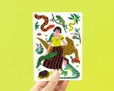 Reptielen en Vrouw - Ansichtkaart_