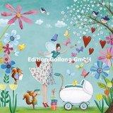 Kinderwagen met Elfje - Ansichtkaart vierkant_