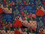Vrouw met Hart en Bloemen - Ansichtkaart vierkant_