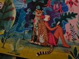 Vrouw met Luipaard - Ansichtkaart vierkant_