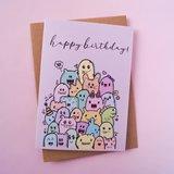 Happy Birthday Monstertjes - Dubbele Wenskaart_