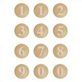 Cijfers Beige en Streepjes - Stickers - Set van 12