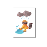 Wasbeer Regen - Ansichtkaart