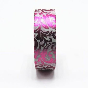 Barok Fuchsia Metallic Patroon Washi Tape - 10M