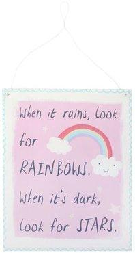 Pink Rainbow Metal Sign When it rains, look for rainbows. When it's dark, look for stars. Regenboog Plakkaat