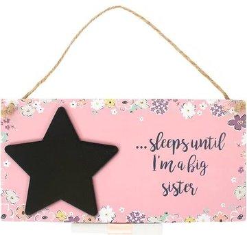 Big Sister Countdown Plaque Krijtbord Grote Zus Baby
