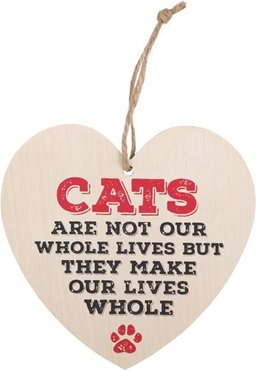 Cats Make Our Lives Whole Heart Plaque Houten Bordje Katten Poes