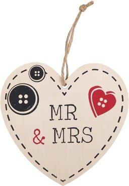 Mr And Mrs Heart Plaque Houten Bordje Trouwen Huwelijk Verloofd