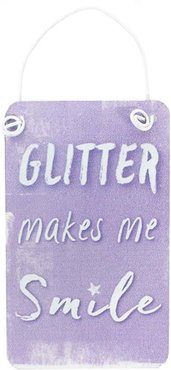 Mini Purple Unicorn Metal Sign Bordje Glitter Makes Me Smile