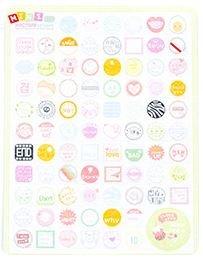 Stempels Tekstjes Kawaii Mini Stickers 2 Velletjes
