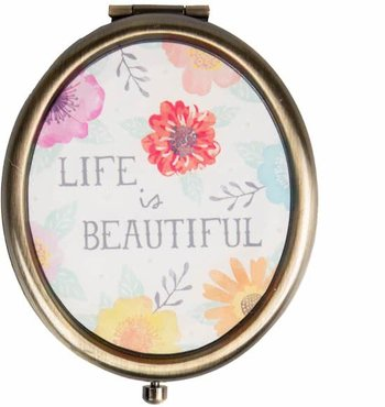 Life Is Beautiful Watercolour Floral Mirror Spiegel