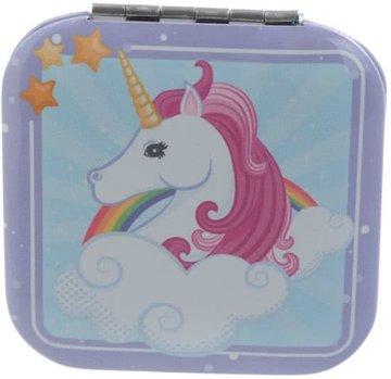 Vierkante Eenhoorn met Roze en Regenboog Zakspiegel Unicorn Compact Mirror