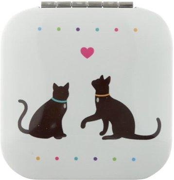Vierkante Zakspiegel Katten met Hartje Kat Cat Compact Mirror