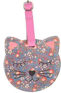 Floral Friends Cat Bagage Label GRIJS