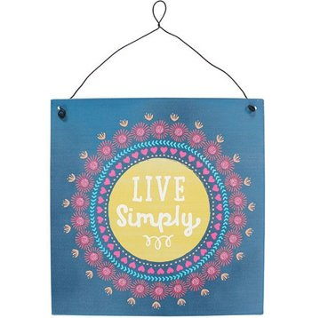 'Live simply' Metalen Bordje Decoratie