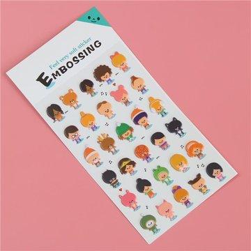 Poppetjes Figuren 3D Embossing Stickers