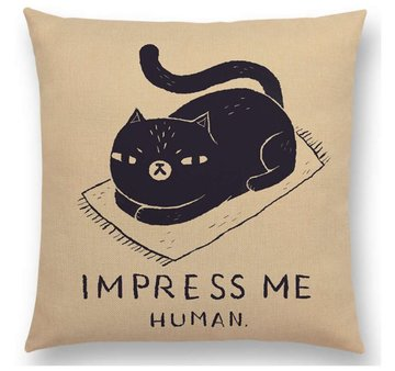 'Impress me human' Kat Poes Kussenhoes