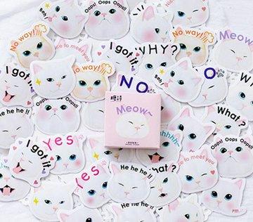 'Meow' Kat met Tekst Stickers in Doosje 45 stuks