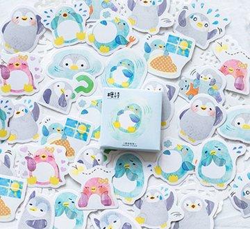 Pinguïn Watercolor Stickers in Doosje 45 stuk