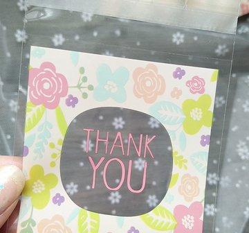 Thank You Floral Plastic Zakjes 7x7cm - 10 stuks