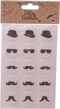 Moustache Stickers - 4 velletjes van 15 stuks