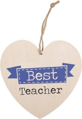 Best Teacher Heart Plaque Houten Bordje Meester Juf Leraar Leerkracht
