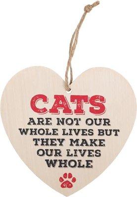 Cats Make Our Lives Whole Heart Plaque Houten Bordje Katten Poes