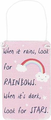 Mini Pink Rainbow Metal Sign Bordje Regenboog Stars