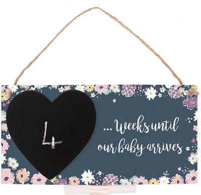 Baby Countdown Plaque Aftellen Kindje Geboren Zwanger Houten Bordje Krijt