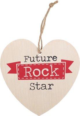 Future Rock Star Heart Plaque Houten Bordje