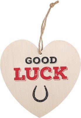 Good Luck Heart Plaque Houten Bordje Succes