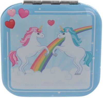 Vierkante Eenhoorn Roze/Turquoise/Turkoois Regenboog Eenhoorns Zakspiegel Unicorn Compact Mirror
