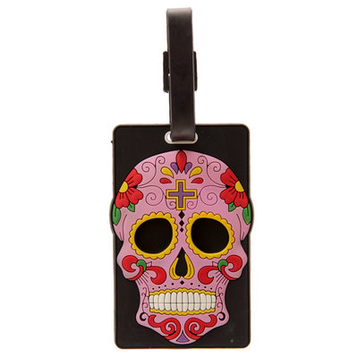 Roze Mexicaanse Schedel Funky PVC Bagage Label