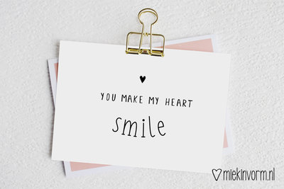 'You make my heart smile' Ansichtkaart