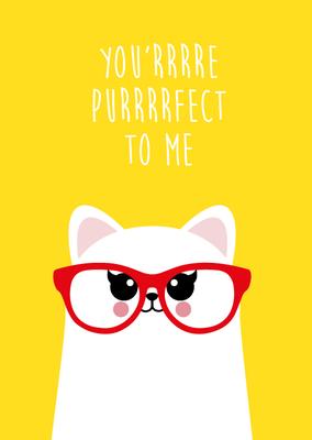 'You're purrrrrrrfect to me' Ansichtkaart