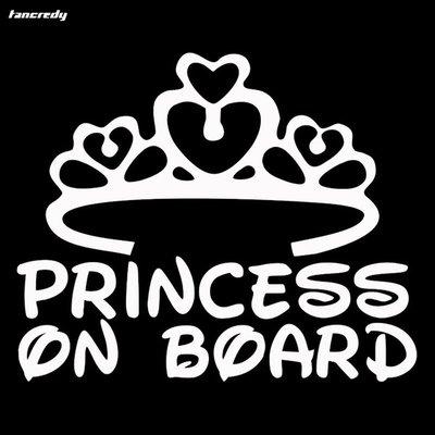 Princess on Board Autosticker Wit