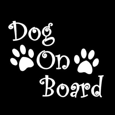 Dog on Board Autosticker Wit