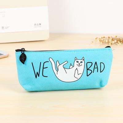'We Bad' Kat Middelvingers Etui Blauw