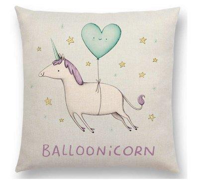'Balloonicorn' / Eenhoorn met Ballon Kussenhoes