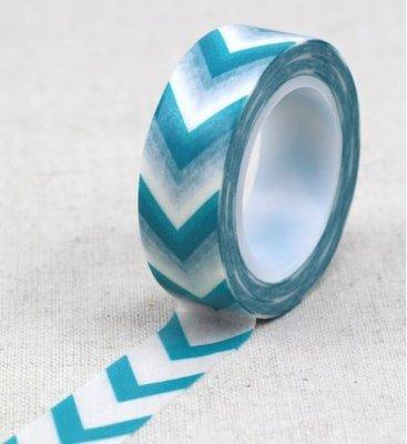 Blauw Wit Chevron Zigzag Pijlen Washi Tape - 10M