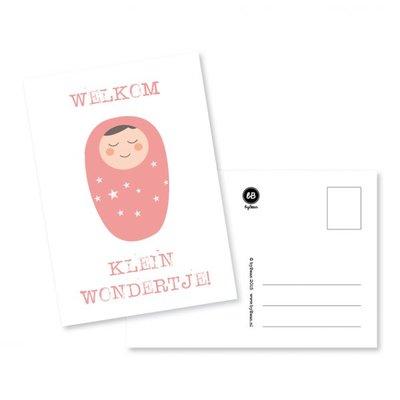 'Welkom klein wondertje' Roze Ansichtkaart