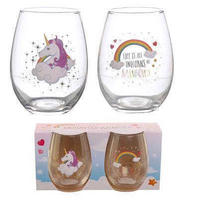 Set van 2 drinkglazen - Regenboog Eenhoorn