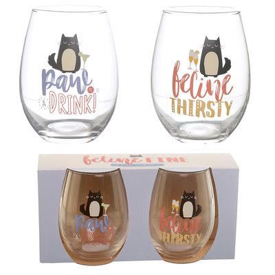 Set van 2 drinkglazen - Feline Fine Kat
